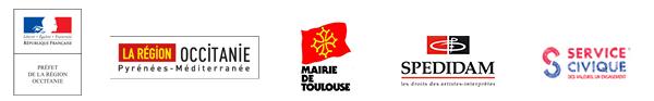 Avec le soutien de la DRAC Occitanie, la région Occitanie, la mairie de Toulouse, la SPEDIDAM et le Service Civique.